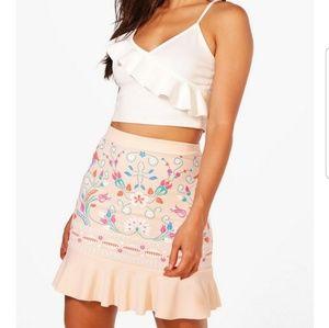NWT Boo Hoo Boho Skirt US 10 Pink Peach